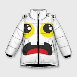 Куртка зимняя для девочки Испуганное лицо цвета 3D-черный — фото 1