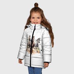 Куртка зимняя для девочки Лошади цвета 3D-черный — фото 2