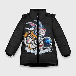 Куртка зимняя для девочки Кролик космонавт цвета 3D-черный — фото 1