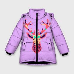 Куртка зимняя для девочки Олень, deer цвета 3D-черный — фото 1