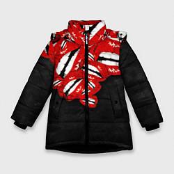 Куртка зимняя для девочки Губы цвета 3D-черный — фото 1