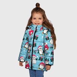 Куртка зимняя для девочки Новогодние Пингвины цвета 3D-черный — фото 2