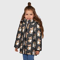 Куртка зимняя для девочки Корги малыши цвета 3D-черный — фото 2