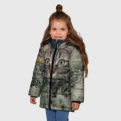 Куртка зимняя для девочки Кошка цвета 3D-черный — фото 2