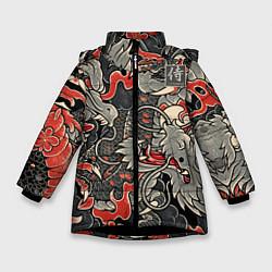 Куртка зимняя для девочки Самурай Якудза, драконы цвета 3D-черный — фото 1