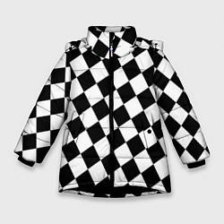 Куртка зимняя для девочки Клетки цвета 3D-черный — фото 1