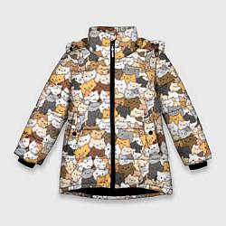 Куртка зимняя для девочки Котики муркотики цвета 3D-черный — фото 1