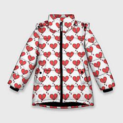 Куртка зимняя для девочки Разбитое Сердце цвета 3D-черный — фото 1