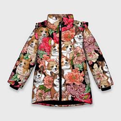Куртка зимняя для девочки Корги & Цветы цвета 3D-черный — фото 1