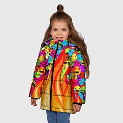Куртка зимняя для девочки SLAVA MARLOW - Смайлики цвета 3D-черный — фото 2