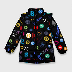 Куртка зимняя для девочки ЛОГОТИПЫ КРИПТОВАЛЮТ Z цвета 3D-черный — фото 1