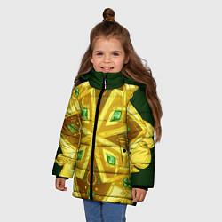 Куртка зимняя для девочки Золотой клевер цвета 3D-черный — фото 2