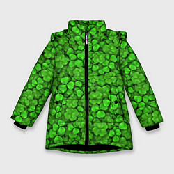 Куртка зимняя для девочки Зелёный клевер цвета 3D-черный — фото 1
