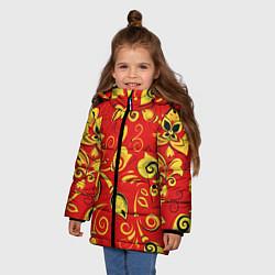 Куртка зимняя для девочки ХОХЛОМА цвета 3D-черный — фото 2