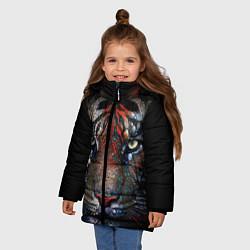 Куртка зимняя для девочки Цветной тигр цвета 3D-черный — фото 2