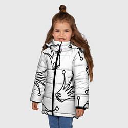 Куртка зимняя для девочки Короны цвета 3D-черный — фото 2