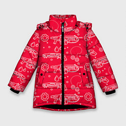 Куртка зимняя для девочки Gears pattern цвета 3D-черный — фото 1