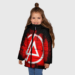 Куртка зимняя для девочки Linkin Park: Red style цвета 3D-черный — фото 2