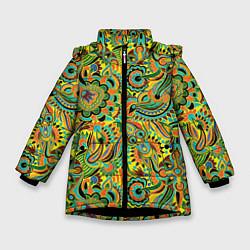 Куртка зимняя для девочки Узор цвета 3D-черный — фото 1