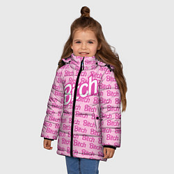 Детская зимняя куртка для девочки с принтом Bitch Barbie, цвет: 3D-черный, артикул: 10064282606065 — фото 2