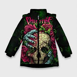 Куртка зимняя для девочки BFMV: Roses Skull цвета 3D-черный — фото 1