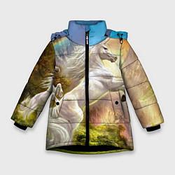 Куртка зимняя для девочки Радужный единорог цвета 3D-черный — фото 1