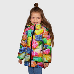 Куртка зимняя для девочки Мармеладные мишки цвета 3D-черный — фото 2