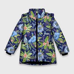 Детская зимняя куртка для девочки с принтом Голубые попугаи, цвет: 3D-черный, артикул: 10065279506065 — фото 1