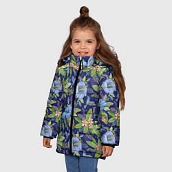 Куртка зимняя для девочки Голубые попугаи цвета 3D-черный — фото 2