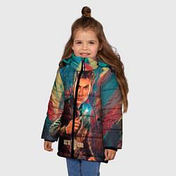 Детская зимняя куртка для девочки с принтом Доктор кто, цвет: 3D-черный, артикул: 10065373406065 — фото 2