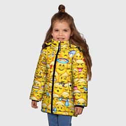 Куртка зимняя для девочки Emoji цвета 3D-черный — фото 2