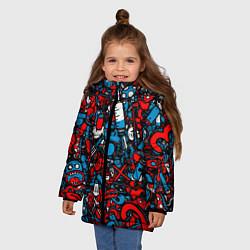 Куртка зимняя для девочки Стикербомбинг цвета 3D-черный — фото 2