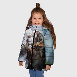 Детская зимняя куртка для девочки с принтом Русский воин на медведе, цвет: 3D-черный, артикул: 10071970706065 — фото 2