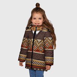 Куртка зимняя для девочки Зимний узор с галстуком цвета 3D-черный — фото 2