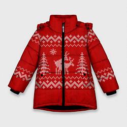 Куртка зимняя для девочки Олени под елками цвета 3D-черный — фото 1