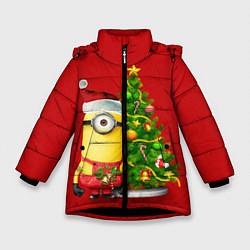 Куртка зимняя для девочки Ёлка миньона цвета 3D-черный — фото 1