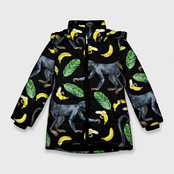 Куртка зимняя для девочки Обезьянки и бананы цвета 3D-черный — фото 1
