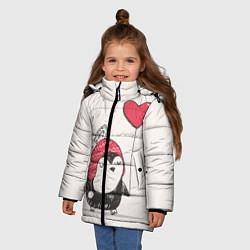 Куртка зимняя для девочки Влюбленный пингвин - фото 2