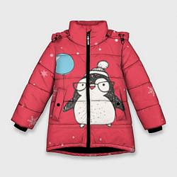 Детская зимняя куртка для девочки с принтом Влюбленная пингвинка, цвет: 3D-черный, артикул: 10079040806065 — фото 1