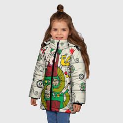 Куртка зимняя для девочки Червовый король цвета 3D-черный — фото 2