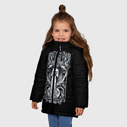 Куртка зимняя для девочки Водолей цвета 3D-черный — фото 2