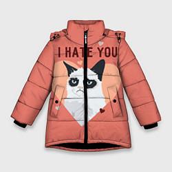 Куртка зимняя для девочки I hate you цвета 3D-черный — фото 1