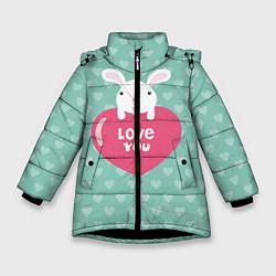 Детская зимняя куртка для девочки с принтом Rabbit: Love you, цвет: 3D-черный, артикул: 10081990706065 — фото 1