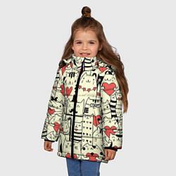 Куртка зимняя для девочки Любящие котики цвета 3D-черный — фото 2