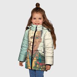 Детская зимняя куртка для девочки с принтом Гагарин в орденах, цвет: 3D-черный, артикул: 10082403806065 — фото 2