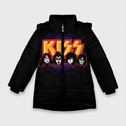 Куртка зимняя для девочки KISS: Death Faces цвета 3D-черный — фото 1
