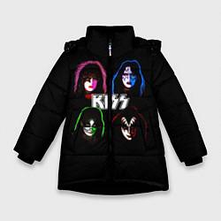 Куртка зимняя для девочки KISS: Acid Colours цвета 3D-черный — фото 1