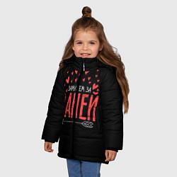 Детская зимняя куртка для девочки с принтом Муж Ваня, цвет: 3D-черный, артикул: 10083288506065 — фото 2
