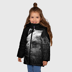Куртка зимняя для девочки Черно-белый медведь цвета 3D-черный — фото 2