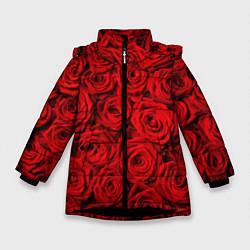 Куртка зимняя для девочки Красные розы цвета 3D-черный — фото 1